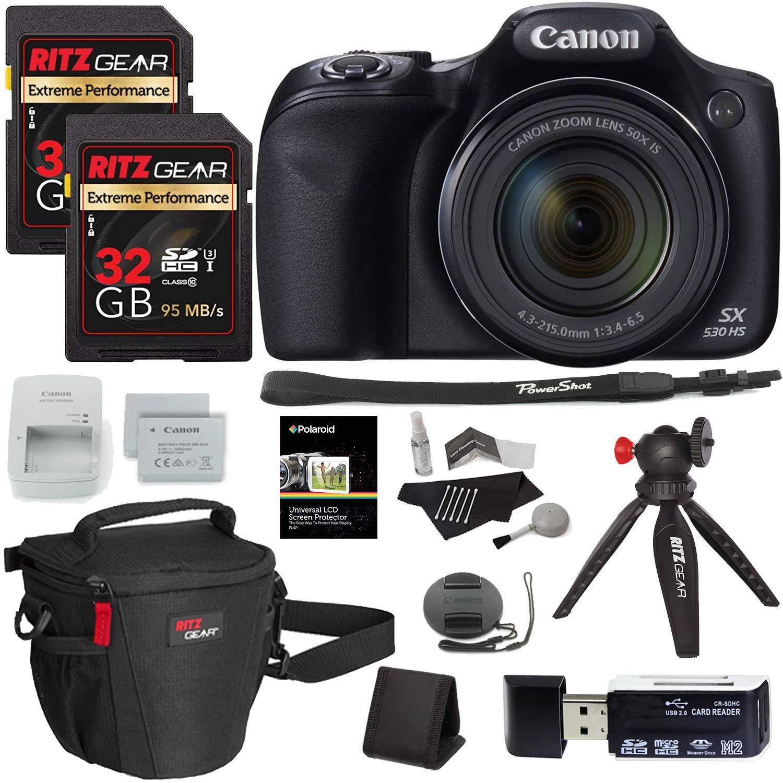 Canon PowerShot SX530 HS Digital Camera + Ritz Gear 32GB U3 Memory Card + Tabletop Tripod + Ritz Gear Zoom Bag + Card Reader + Cleaning Kit + Screen Protector + Spare Battery