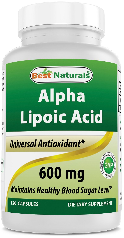 Best Naturals Alpha Liopic Acid 600 mg 120 Capsules - ALA Alpha Lipoic Acid Powerful Antioxidant