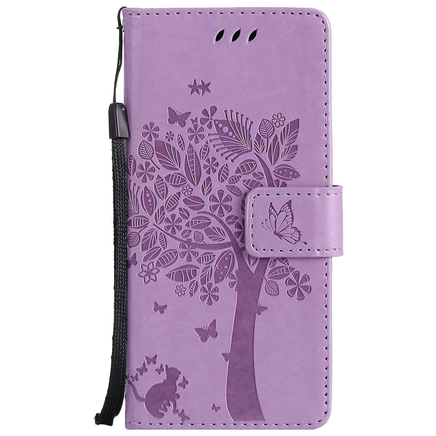 Sony Xperia XA Wallet Case, UNEXTATI Leather Flip Cover Case with Kickstand Feature for Sony Xperia XA (Light Purple #12)