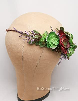 Succulent Flower Headpiece, Rustic Bridal Flower Wreath in Green and Red, Flower Crown