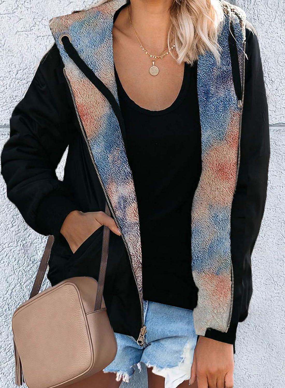 CORAFRITZ Damen Fashion Langarm Outwear Camouflage Reversible Reißverschluss Kordelzug Hoodie Jacke Mehrfarbig