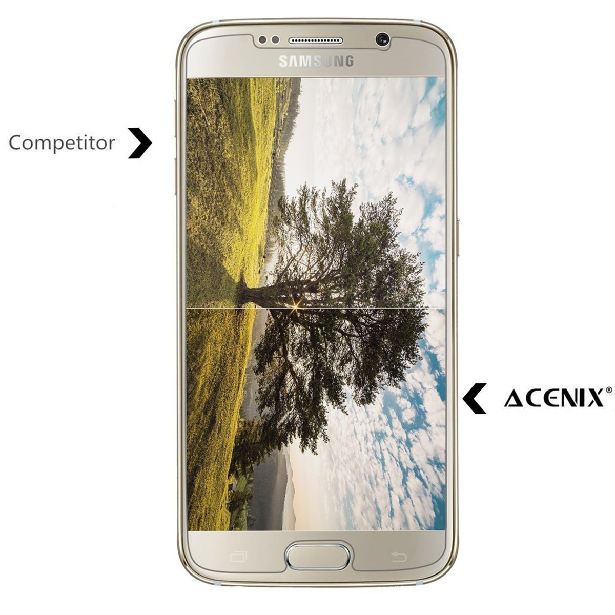 ACENIX® S6 Cristal Templado Premium Protector de pantalla, Shield transparente calidad HD para Samsung Galaxy S6, garantía de por vida [instalación sin ...