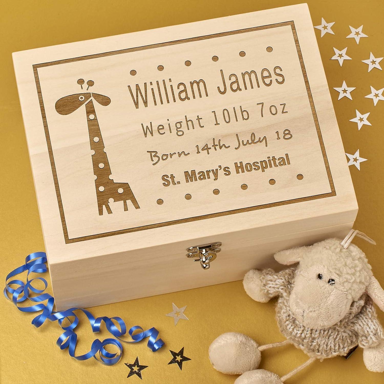 Personalised Wooden Baby Memory Keepsake Box | Baby Giraffe Design