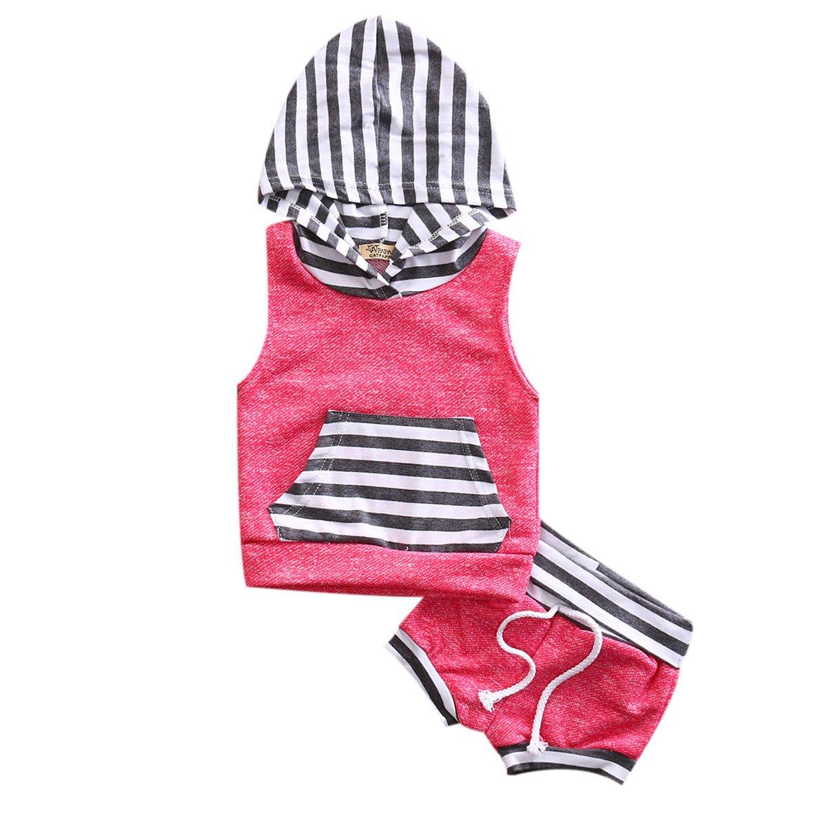 hirigin Newborn Baby Boys Girls Clothes Set 2 Pieces Stripe Vest Hoodie+Short Pants