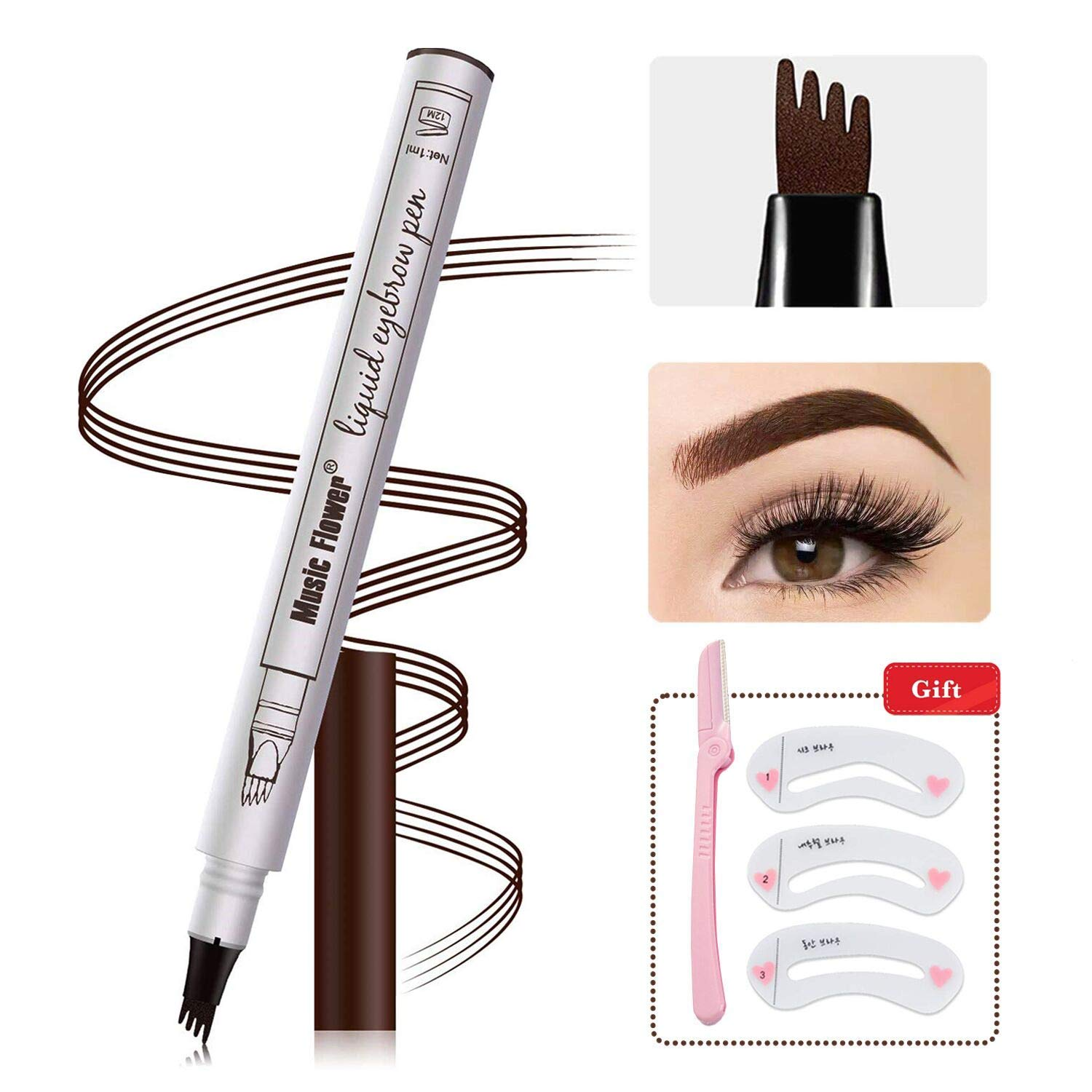 Eyebrow Tattoo Pen,Microblading Eyebrow Pen 4 Points Eyebrown Pen Tat Brow Microblade Eyebrow Pencil Waterproof & Smudge-Proof With Four Micro-Fork Tips Applicator for Daily Natural Eye Makeup