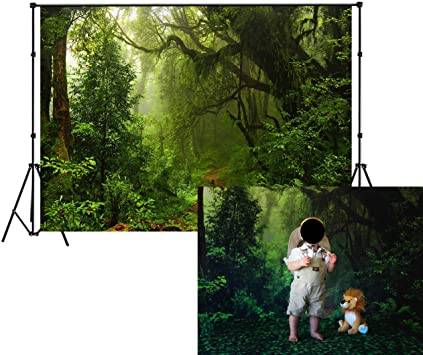 6x6FT Vinyl Backdrop Photographer,Green,Countryside Forest Lake Background for Baby Birthday Party Wedding Studio Props Photography