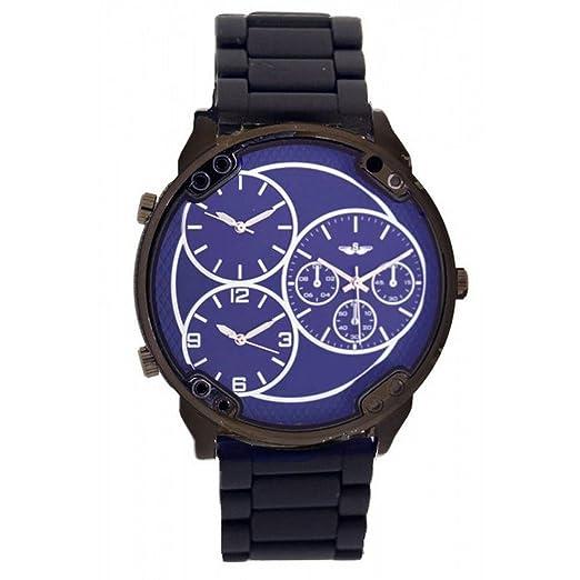 341e09a40292 Softech Men s Wrist Watch Blue Face 3 Time Zones Analog Dislplay Quartz  Movement with Black Metal