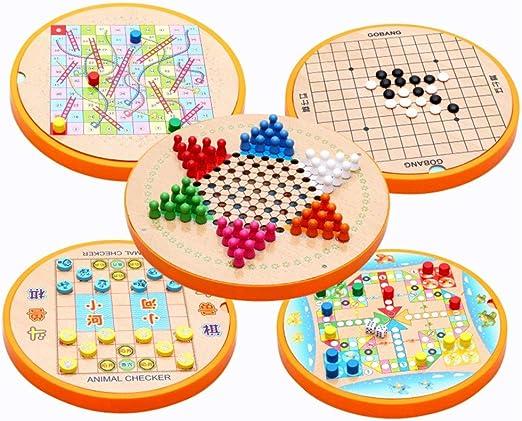Juegos de Mesa para niños Madera 5 en 1 de los inspectores Chinos y Gobang Madera Juego de Mesa for la Familia por diversión (Color : True Color, Size : 28.6x28.6cm): Amazon.es: Hogar
