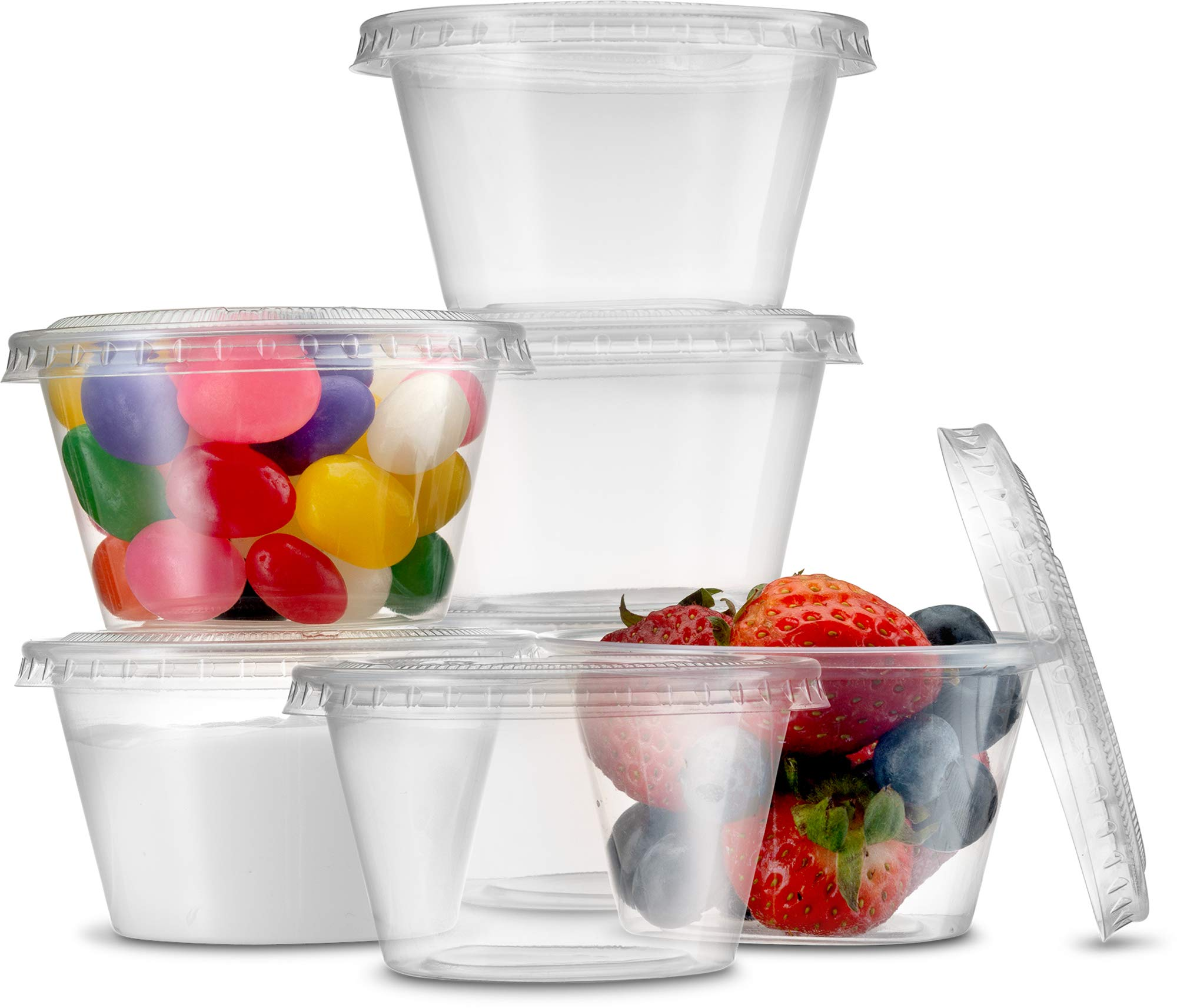 (200 Sets) Sturdy 4 oz. Portion Souffle Cups with Lids - Leak-Resistant, Tight fit, Easy Snap-on Lids - Clear and Fully Transparent, Disposable Plastic Shot Cups by PACNIC