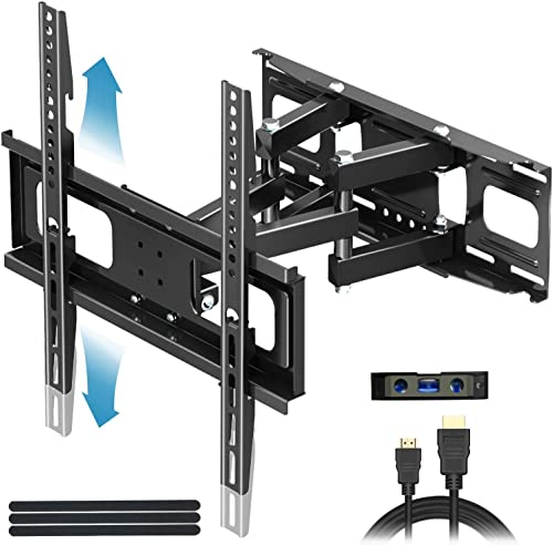 Everstone TV Wall Mount for Most 32 -65 TVs Heavy Duty Dual Arm Articulating Full Motion Tilt Swivel 14 Extension Bracket,LED,LCD,OLED Plasma Flat Screen Curved TV,Up to VESA 400mm,Height Adjustable