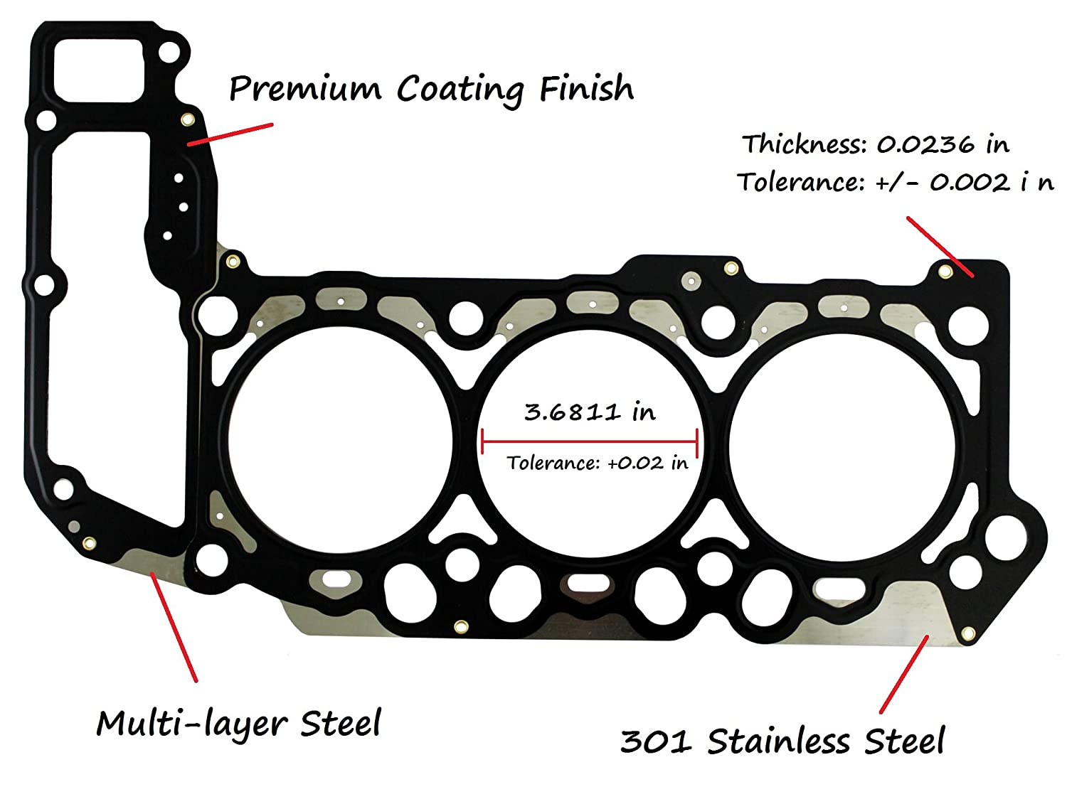 Eristic Eg2512 Mls Head Gasket For 2002 2012 Dodge Jeep 1uzfe Engine Diagram Ram Dakota Durango Grand Cherokee 37l V6 Automotive