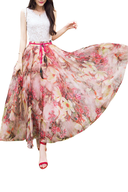 JoyFairy Floral Printed Chiffon Summer Beach Full Length Long Maxi Skirt for Women M Red