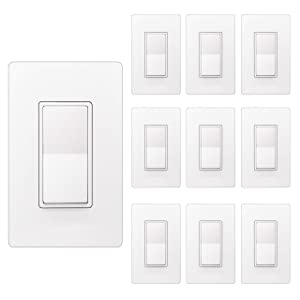 [10 Pack] BESTTEN Single Pole Decorator Wall Light Switch with Screwless Wall Plate, 15A 120/277V, On/Off Paddle Rocker Interrupter, UL Listed, White