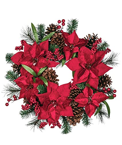 Christmas Ring.Amazon Com Sullivans Poinsettia Holly Berry 18 Inch Artificial