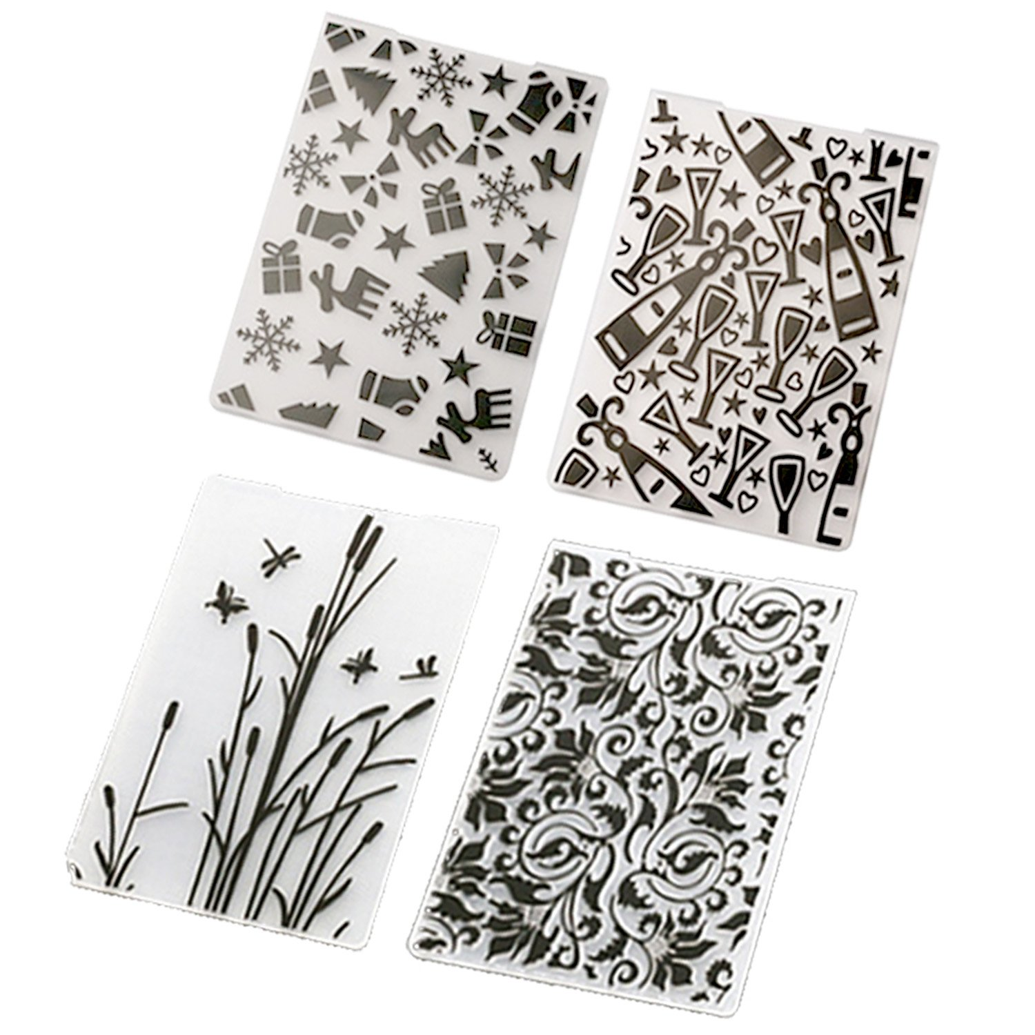 Migavan Embossing Folder,4 Assorted Patterns Embossing Folder Plastic Templates Molds Tools for DIY Craft Scrapbooking Photo Album Card Decoration Style B