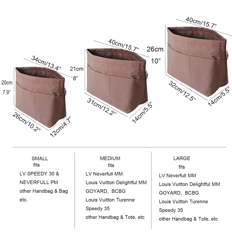 Multiple Pockets Pouch Purse Expandable Khaki S HyFanStr Handbag Organiser Insert with Zip