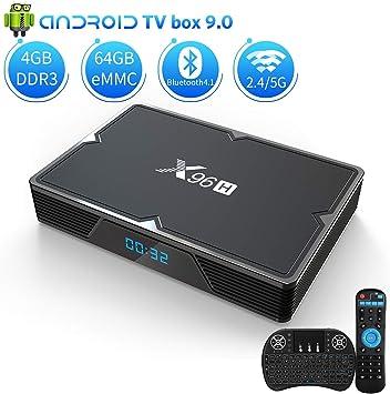 DOOK Android 9.0 TV Box X96H[4G+64G]con Mini Teclado inalámbirco Allwinner H603 Quad-Core 64bits Android TV Box, Wi-Fi-Dual 5G/2.4G, BT 4.1, 4K*2K UHD H.265, USB 3.0 Smart TV Box: Amazon.es: Deportes y aire
