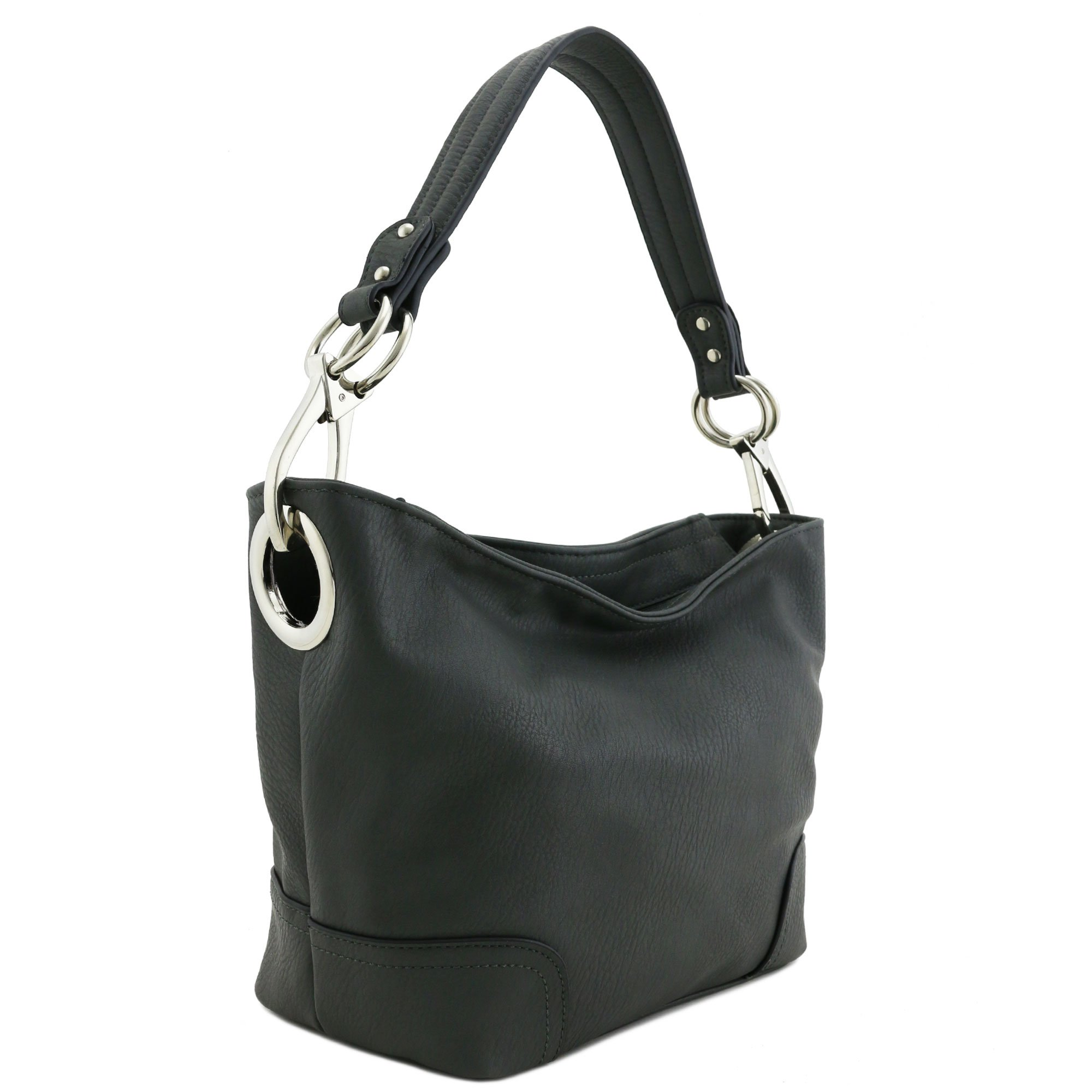 Hobo Shoulder Bag with Snap Hook Hardware Small (Charcoal Grey)