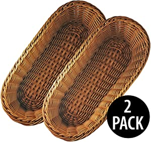 "KOVOT Poly-Wicker Bread Basket Set of 2-14.5"" Woven Polypropylene"