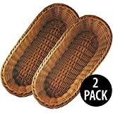 "KOVOT Poly-Wicker Bread Basket Set of 2 - 14.5"" Woven Polypropylene"