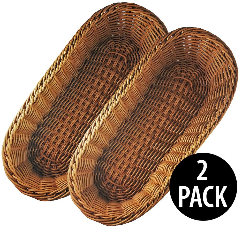 KOVOT Poly-Wicker Bread Basket Set of 2 - 14.5'' Woven Polypropylene