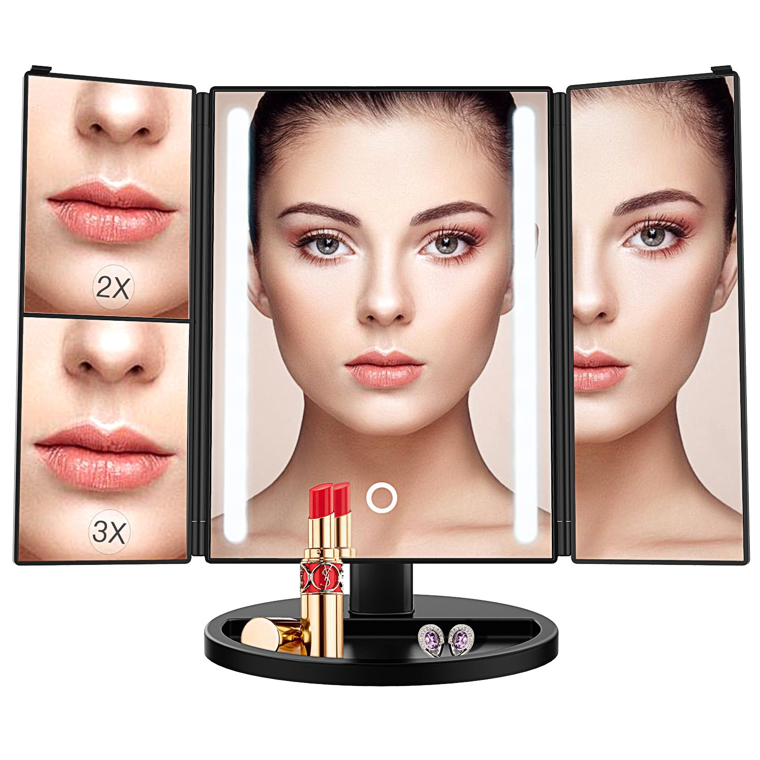 BESTOPE 24 Led Makeup Mirror Larger Vanity Mirror with 3x/2x Magnification,Trifold Lighted Mirror,Touch Screen, 180° Adjustable Rotation,Battery and USB Powered,Countertop Cosmetic Mirror (Black) 180° Adjustable Rotation BESTOPE CA