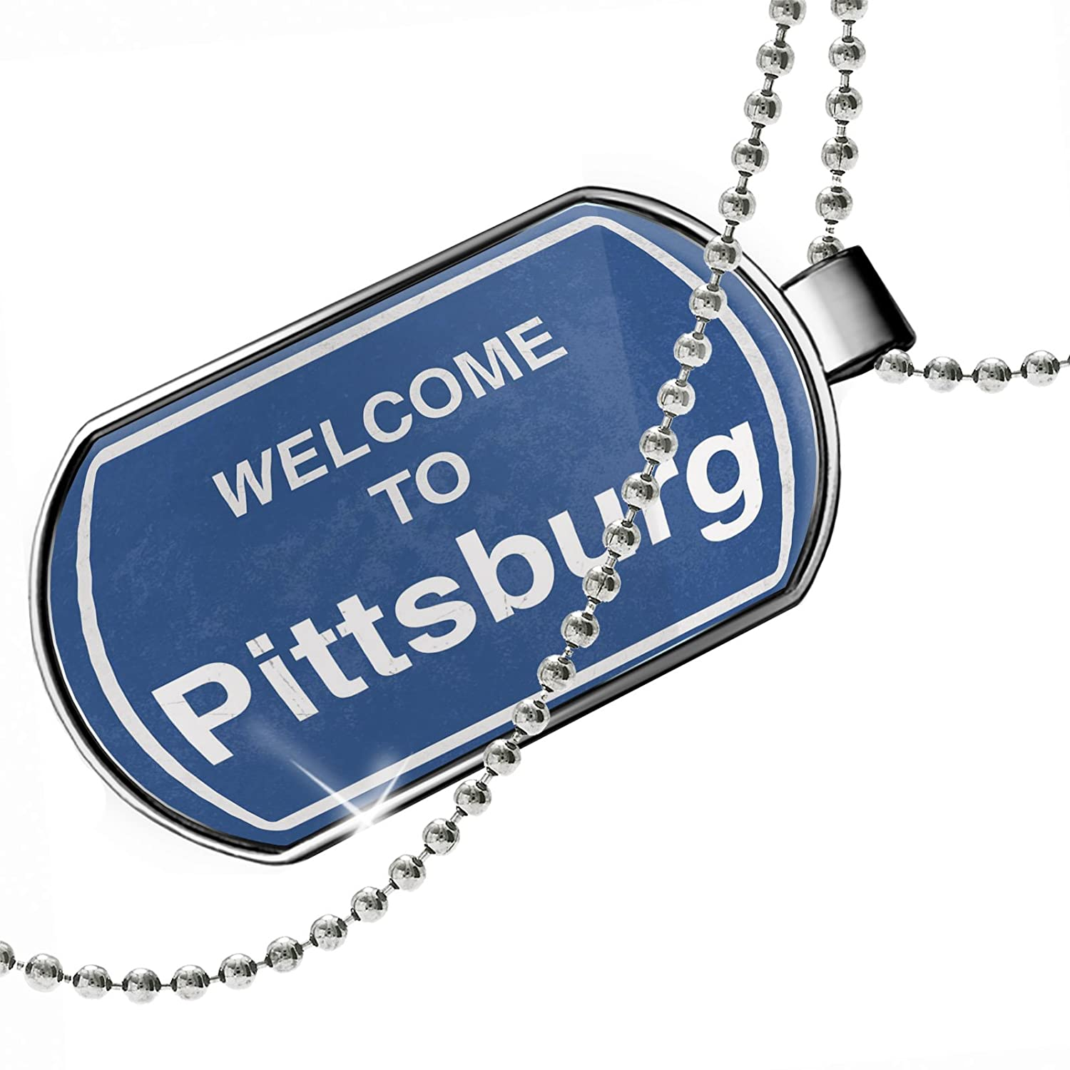 NEONBLOND Personalized Name Engraved Sign Welcome to Pittsburg Dogtag Necklace