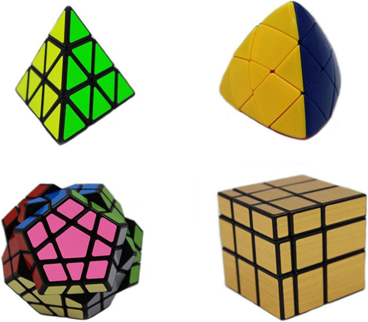 MEISHINE® 4 Pack Cubo Mágico Dorado Mirror Cube,Megaminx,Pyraminx,Mastermorphix Cubo Mágico Inteligencia Mágico Cubo de la Velocidad Juego de Puzzle Cube Speed Magic Cube Stickerless: Amazon.es: Juguetes y juegos