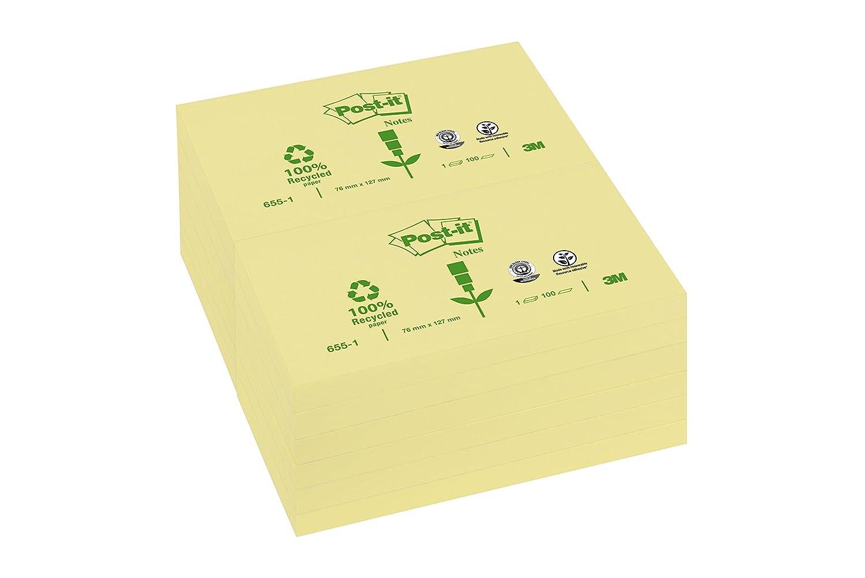 colore giallo 51 x 38 mm Post-it 6551GE 3 blocchetti da 100/foglietti riciclati per annotazioni dimensioni 127/x 76/mm