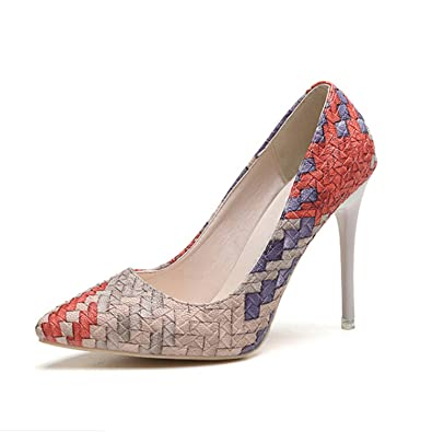 SY Womens Shoes Pump Hollow out Stilettos Pointy Toe Low Heels Fashion spring OL