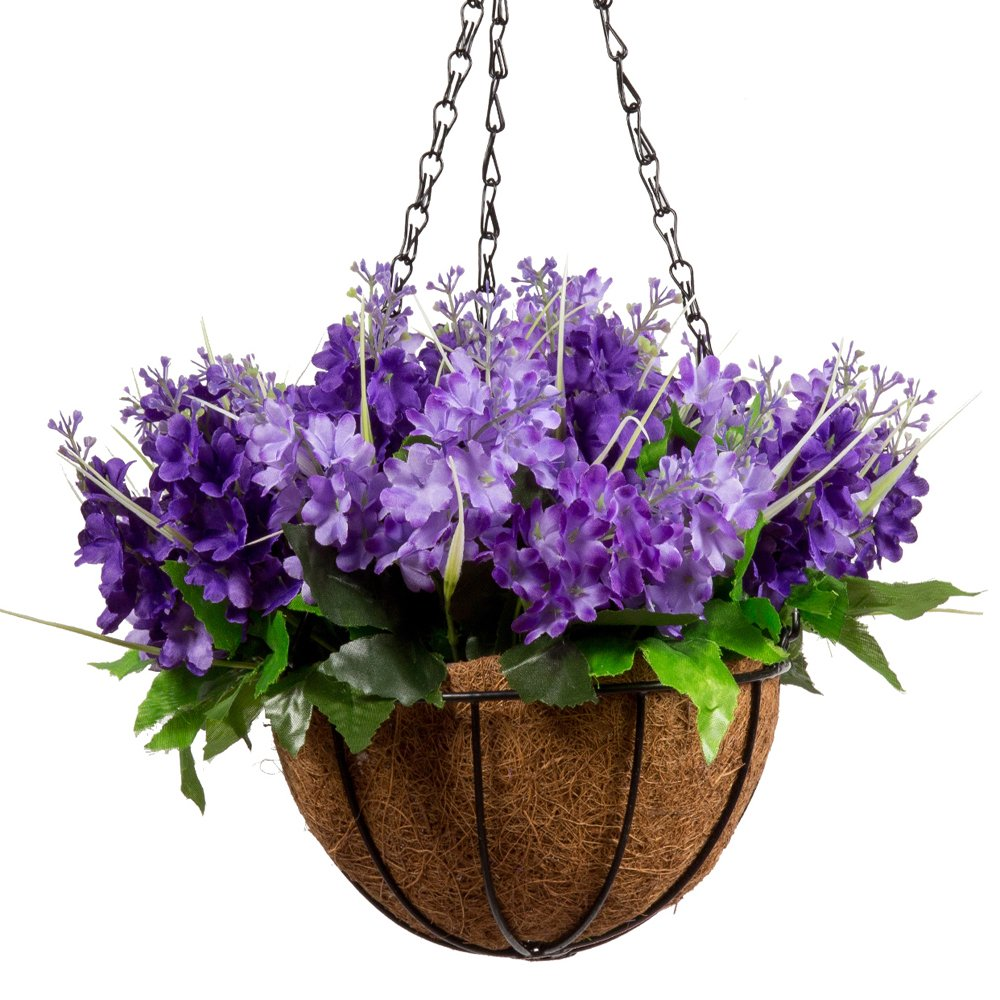 Mixiflor Lavender Artificial Hanging Flowers, Artificial Hanging Planets Silk Flower, Hanging Basket with Chain Flowerpot for Home Outdoor Decoration (View amazon detail page)
