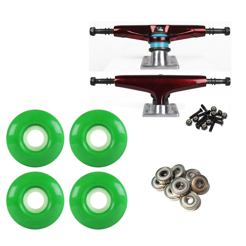 スケートボードトラックダークレッド/シルバー52 mmグリーンABEC 9 BEARINGSコンボ B07BX6LK9J