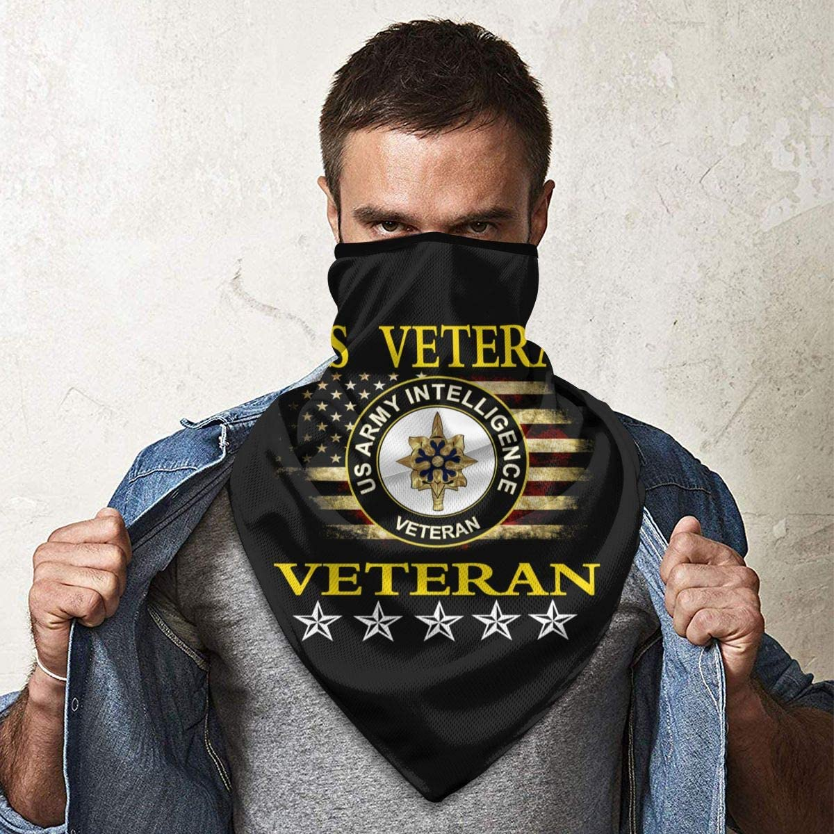 US Army Veteran Intelligence Outdoor Face Mouth Mask Windproof Sports Mask Ski Mask Shield Scarf Bandana Men Woman