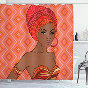 Ambesonne African Shower Curtain, Portrait of Woman in Dress Zulu Inspired Graphic Print, Cloth Fabric Bathroom Decor Set with Hooks, 70