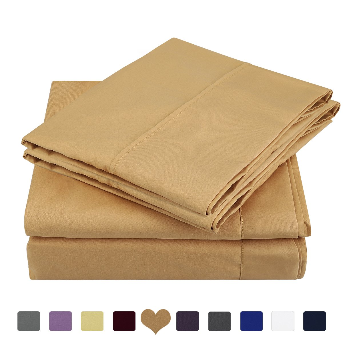 HOMEIDEAS 3 Piece Bed Sheet Set (Twin XL,Gold) 100% Brushed Microfiber 1800 Bedding Sheets Deep Pockets,Wrinkle & Fade Resistant