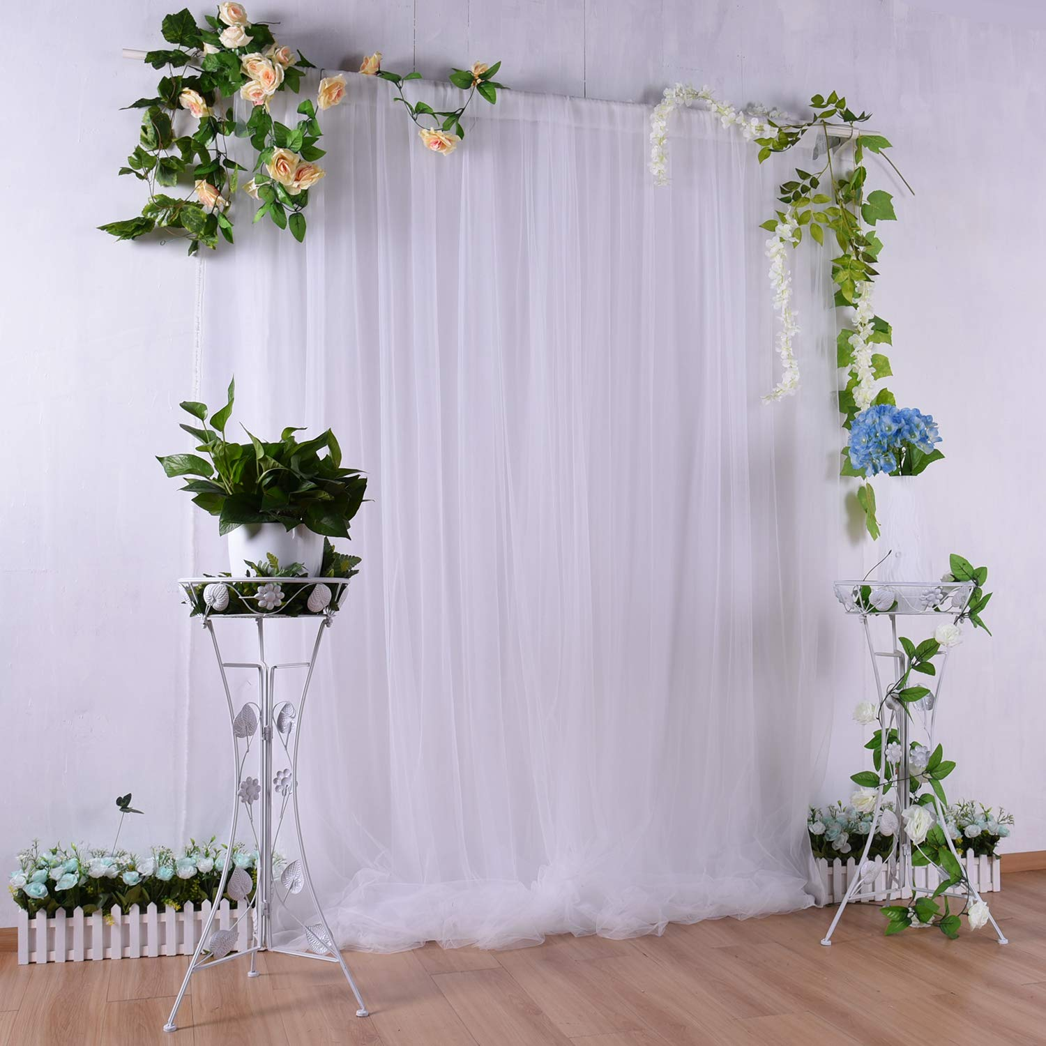 White Tulle Backdrop Curtain 5ft×7ft for Wedding Baby Shower Decorations Photography Background Party Decorations Supplies by CO-AVE
