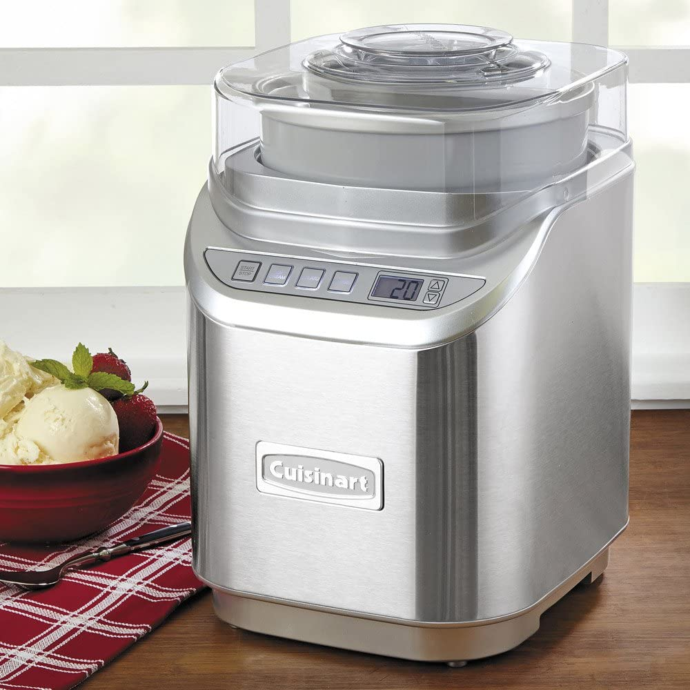 Cuisinart ICE-70 Electronic Ice Cream Maker, Brushed Chrome, Ice Cream Maker with Countdown Timer, With Countdown Timer