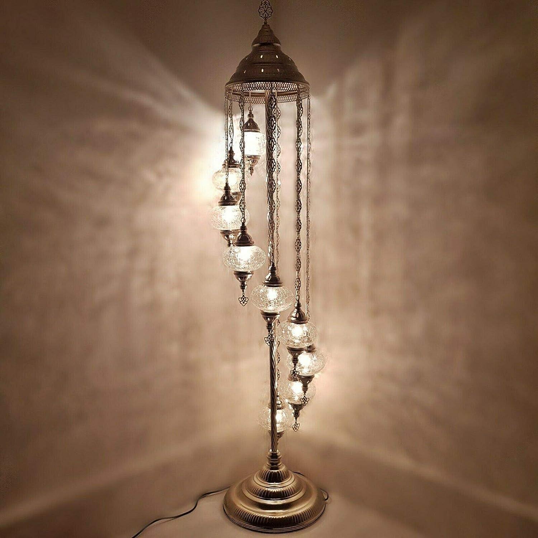 Handmade Turkish Moroccan Arabian Eastern Bohemian Tiffany Style Glass Mosaic Colourful Silver Floor Lamp Lamps Home Decor (White A - 9 Ball) Clear Ottoman - 9 Ball