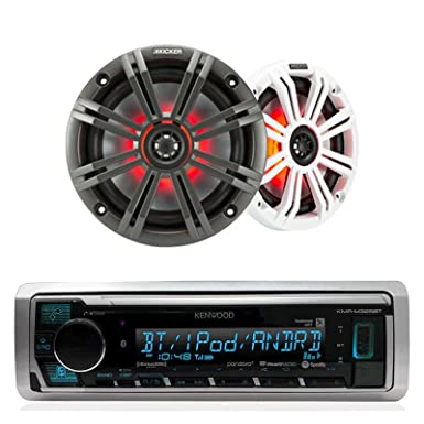 Kenwood In Dash Car Audio Bluetooth Stereo Aux USB Siriusxm Digital Receiver Bundle Combo With Kicker KM654LCW 6.5 Led Marine Speakers