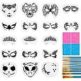 31 Pieces Face Stencils Kit, 17 Reusable Large Face Paint Stencils, 4 Small Stick Paint Stencils and 10 Pieces Painting…