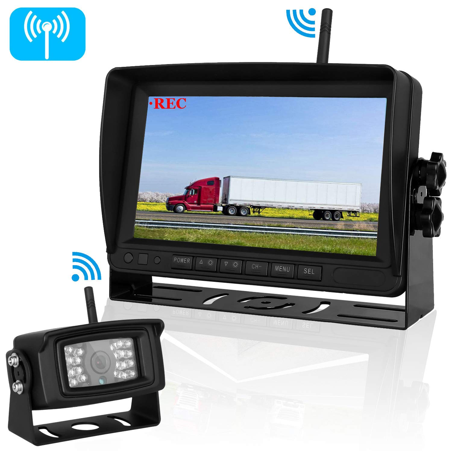 iStrong Digital Wireless Backup Camera for RV/Trailer/Truck/Bus/Boat with 7'' Recorder Rear/Side/Front View Camera with Split Screen High-Speed Observation System Guide Lines ON/Off