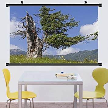 Gzhihine Wall Scroll Nature Old Spruce Tree Coming Back To Life From Death Summer Meadow Country