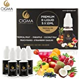 CIGMA 5 X 10ml E-Liquid Tropical Pack | Cola | Pineapple | Watermelon | Mango Smoothie | Lemon Soda | New Premium Quality Formula with Only High Grade Ingredients | VG & PG Mix | Made For Electronic Cigarette and E Shisha
