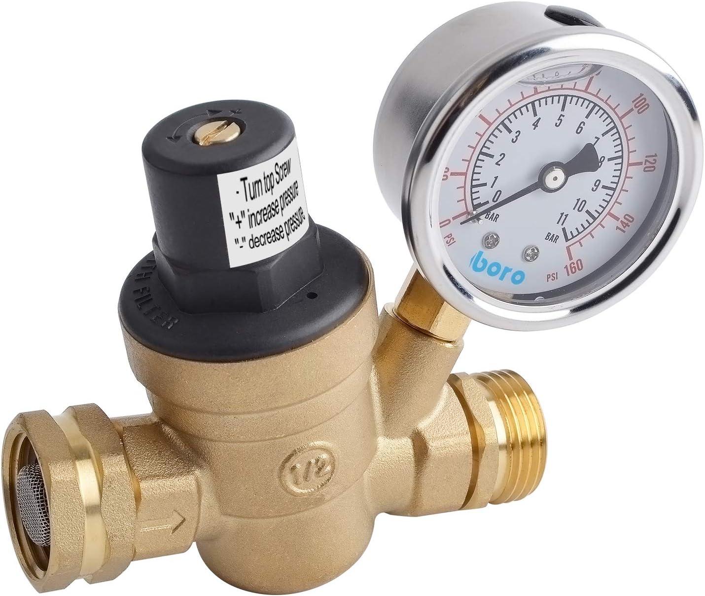 American Motorhome Rv Water Pressure Regulator 3 4 With Guage 40064