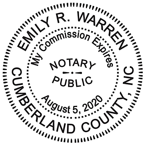 Round Notary Stamp For State Of North Carolina Self Inking