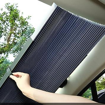 150 * 65//75Cm Estirable QLL Sombrilla del Coche Pantalla Solar De Aislamiento Solar Visera Auto-Retr/áctil Visera Delantera Sombrilla Sombra Parabrisas Delantero ,Silver,S