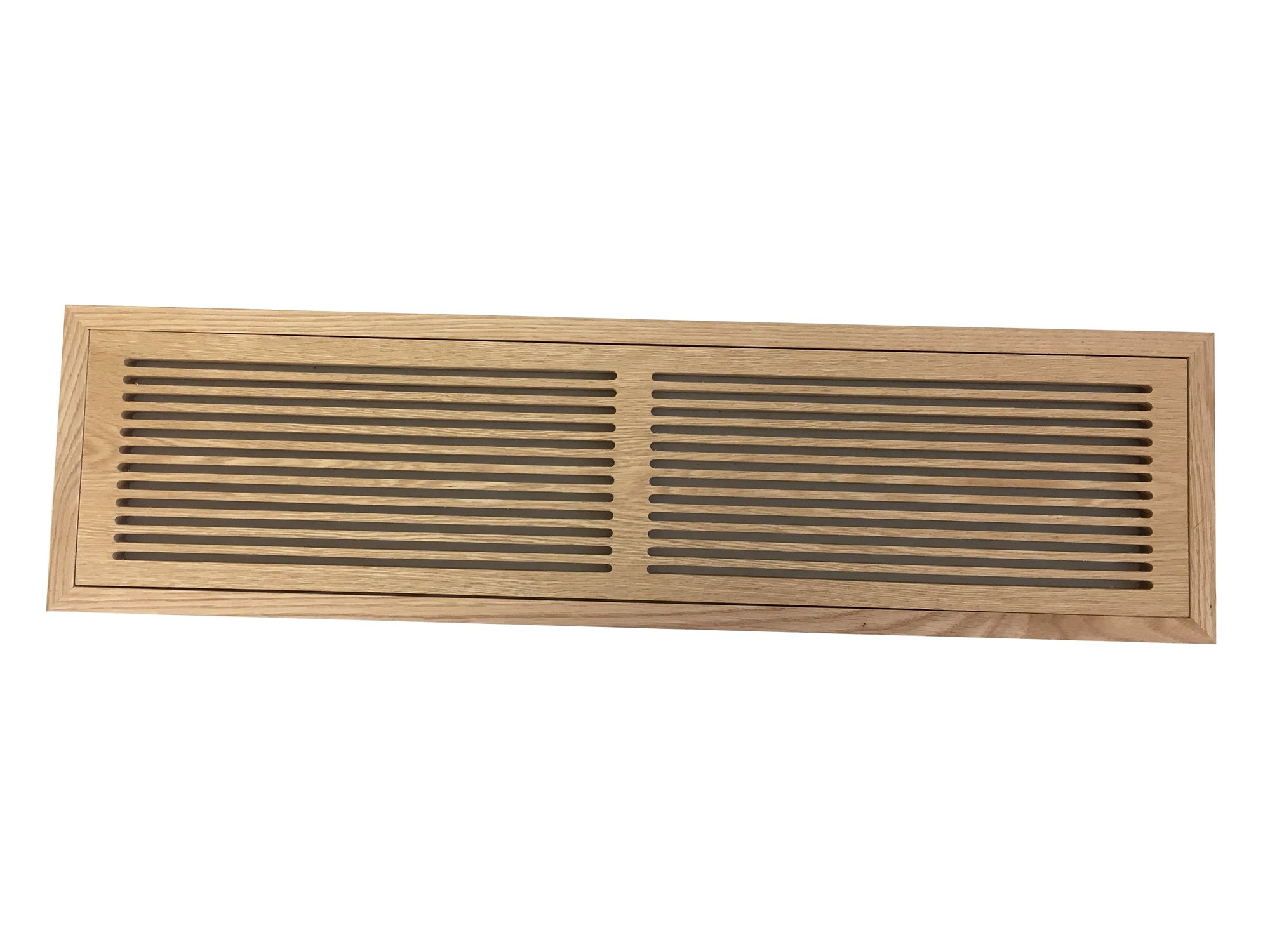 6 Inch x 30 Inch Red Oak Hardwood Vent Floor Register Flush Mount with Frame, Slotted Style, Unfinished