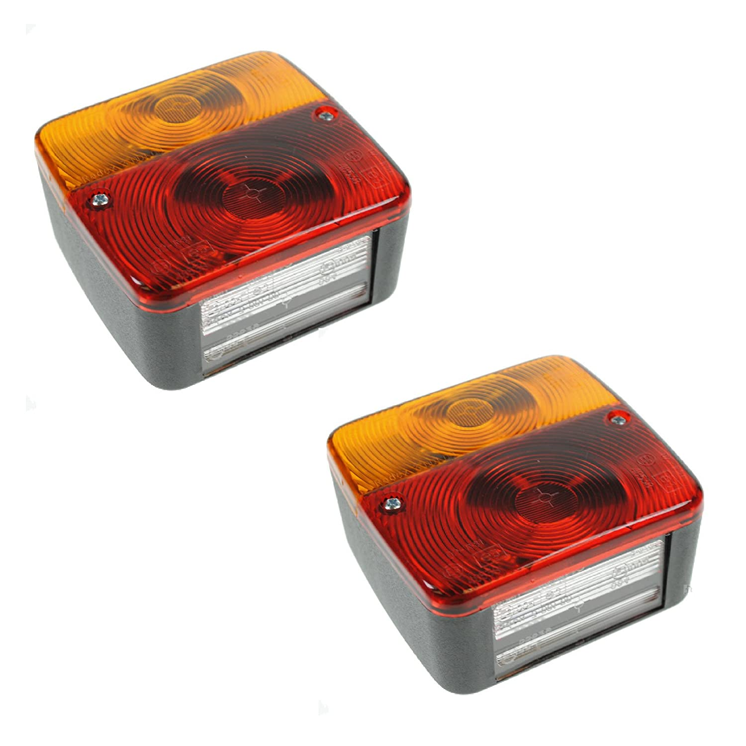 2 x Trailer Tail Rear Lights 4 Function Light Cluster Towing Brake Indicator Roadster