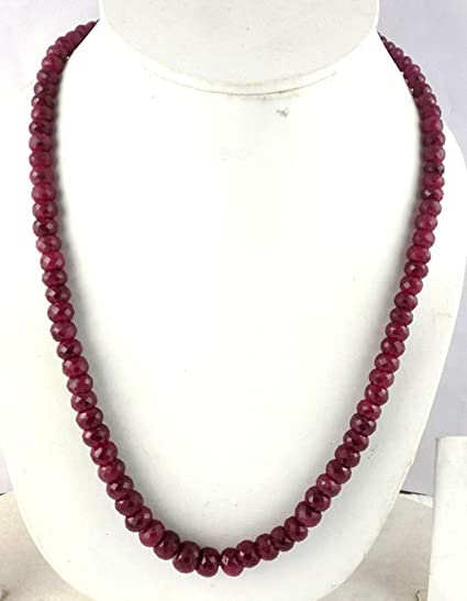 Fashion 2x4mm NATURAL RUBY FACETED BEADS NECKLACE 3 STRAND