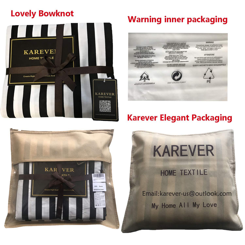 karever Black White Striped Duvet Cover Queen Vertical Ticking Stripe Bedding Full 3 PCs Cotton Comforter Cover Set for Boys Girls by karever (Image #2)